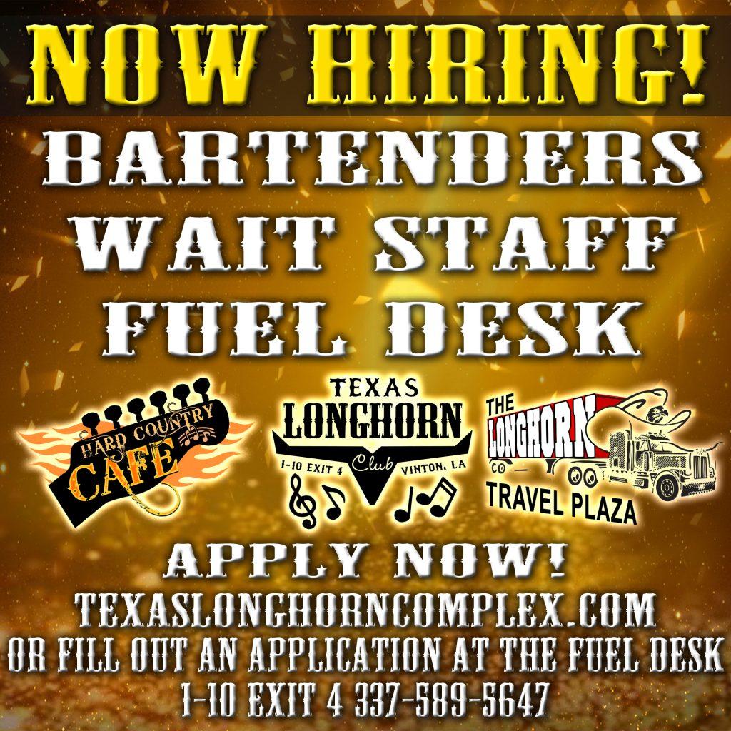 Now Hiring Bartendars Fuel Desk Wait Staff copy